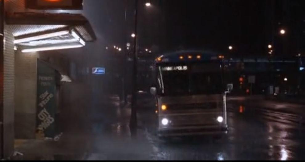 Bus returning in rain
