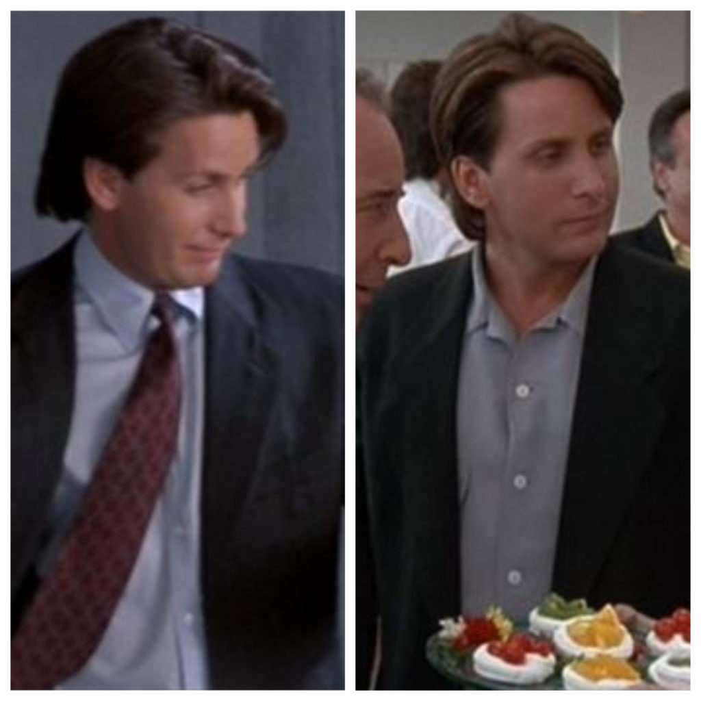 Gordon Bombay with his tie on at the photo shoot but his tie off at the party